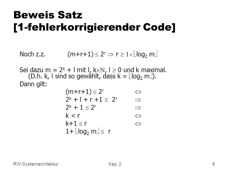 Beweis Satz [1-fehlerkorrigierender Code]